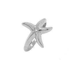Starfish and Diamond Ring in Sterling Silver