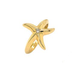 Starfish Diamond Ring in Solid Yellow Gold