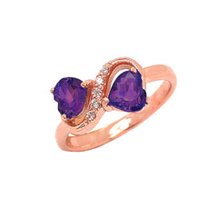 Double Heart Amethyst and Diamond Infinity Ring in Rose Gold