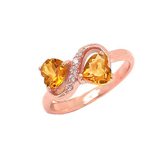 Double Heart Citrine and Diamond Infinity Ring in Rose Gold