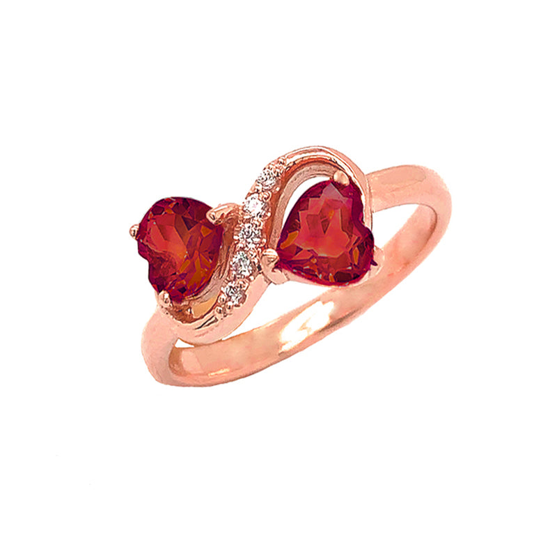 Double Heart Garnet and Diamond Infinity Ring in Rose Gold