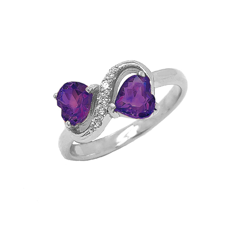 Double Heart Amethyst and Diamond Infinity Ring in Sterling Silver