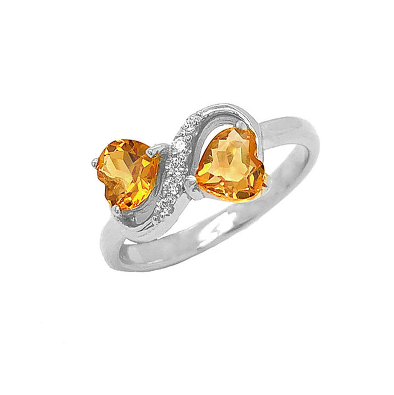 Double Heart Citrine and Diamond Infinity Ring in White Gold