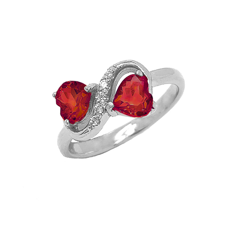 Double Heart Garnet and Diamond Infinity Ring in White Gold