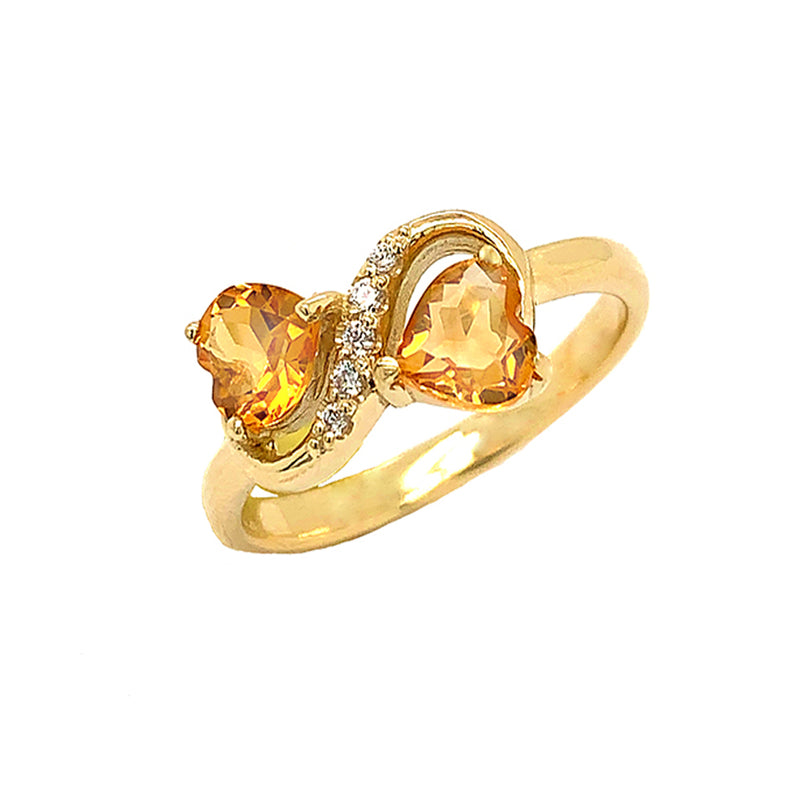 Double Heart Citrine and Diamond Infinity Ring in Yellow Gold