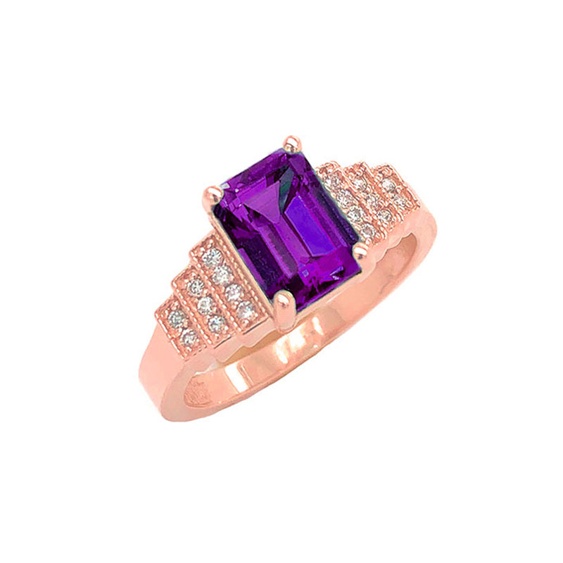 Amethyst and Diamond Wedding Ring in Rose Gold