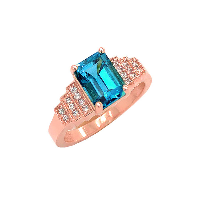 London Blue Topaz and Diamond Wedding Ring in Rose Gold