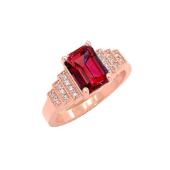 Garnet and Diamond Wedding Ring in Rose Gold
