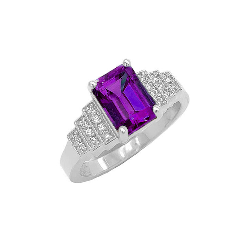 Amethyst and Diamond Wedding Ring in Sterling Silver