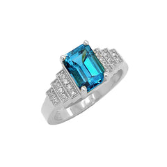 London Blue Topaz and Diamond Wedding Ring in White Gold