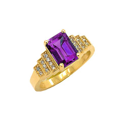 Amethyst and Diamond Wedding Ring in Yellow Gold