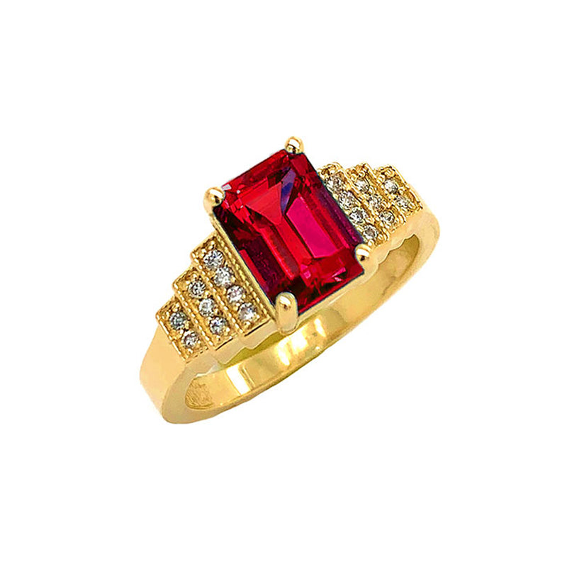 Garnet and Diamond Wedding Ring in Yellow Gold