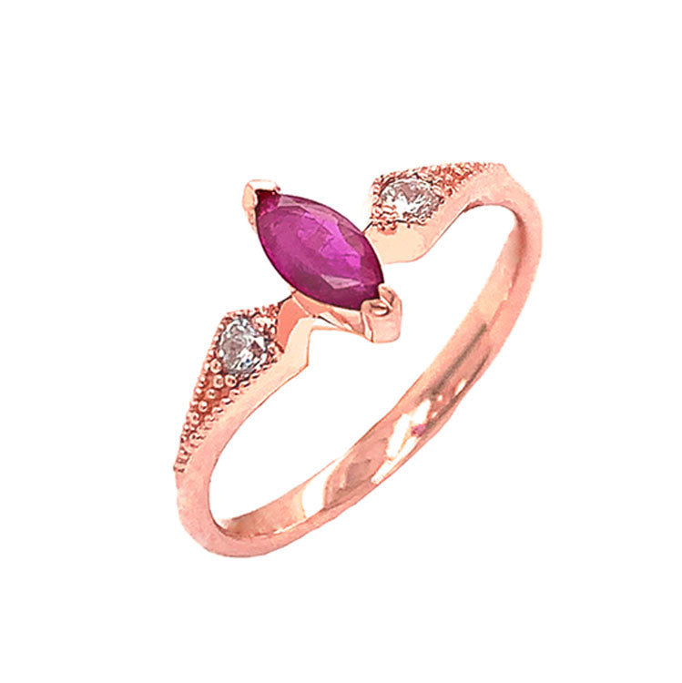 Marquise-Shaped Genuine Ruby and White Topaz Engagement/Promise Ring in Rose Gold
