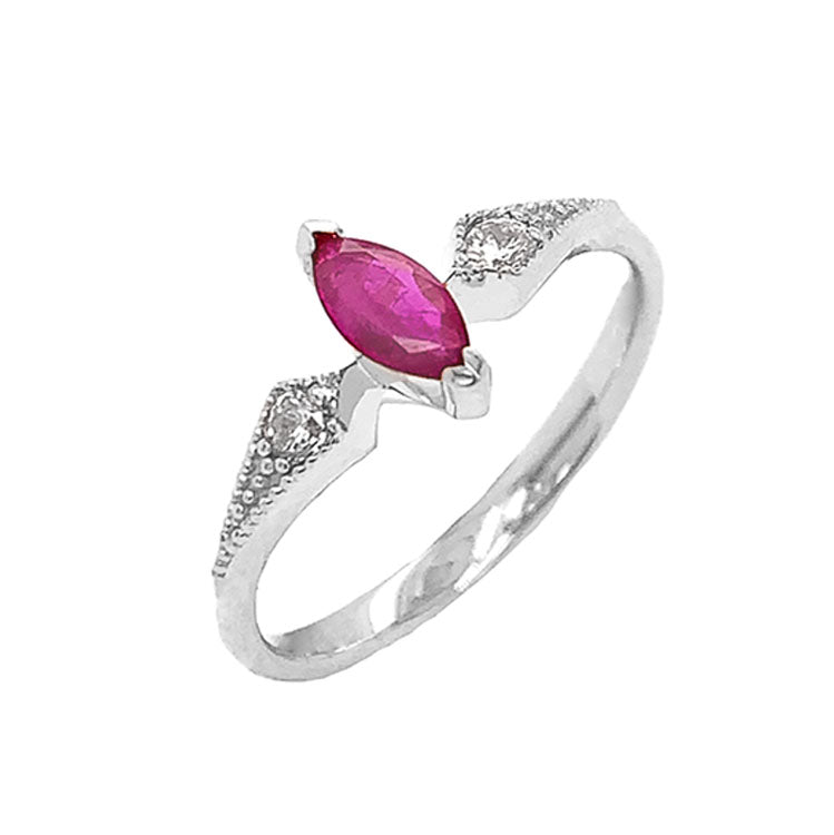 Marquise-Shaped Genuine Ruby and White Topaz Engagement/Promise Ring in White Gold