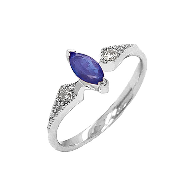 Marquise-Shaped Genuine Sapphire and White Topaz Engagement/Promise Ring in Sterling Silver