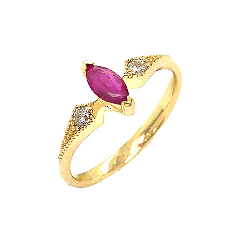 Marquise-Shaped Genuine Ruby and White Topaz Engagement/Promise Ring in Yellow Gold