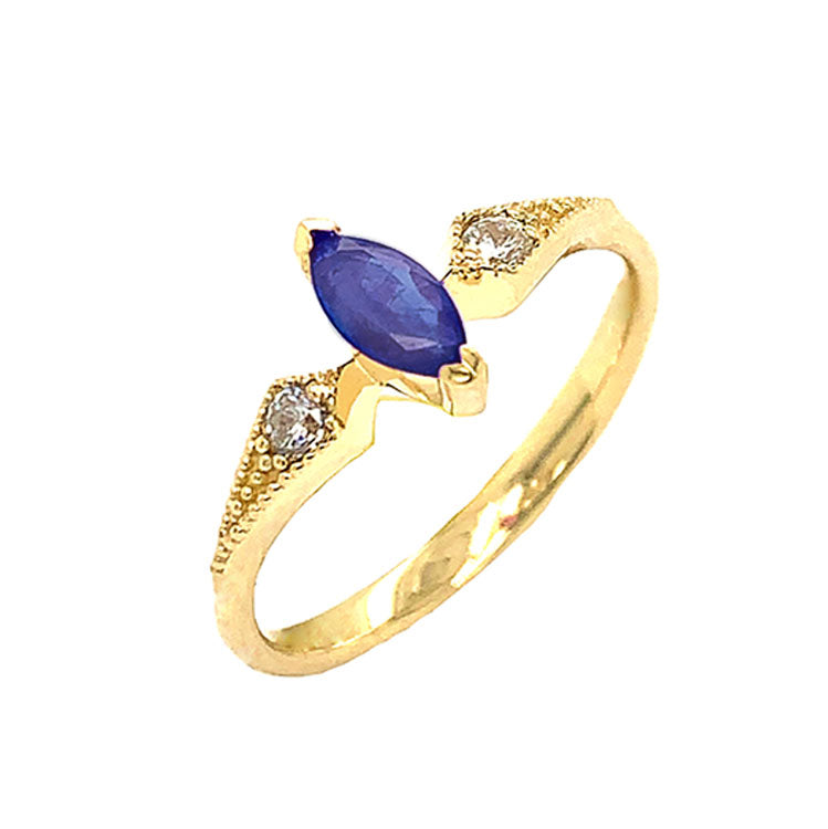 Marquise-Shaped Genuine Sapphire and White Topaz Engagement/Promise Ring in Yellow Gold