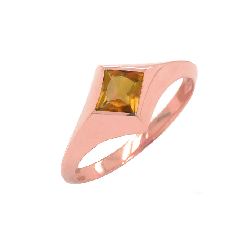 Solitaire Princess-Cut Citrine Ring in Rose Gold
