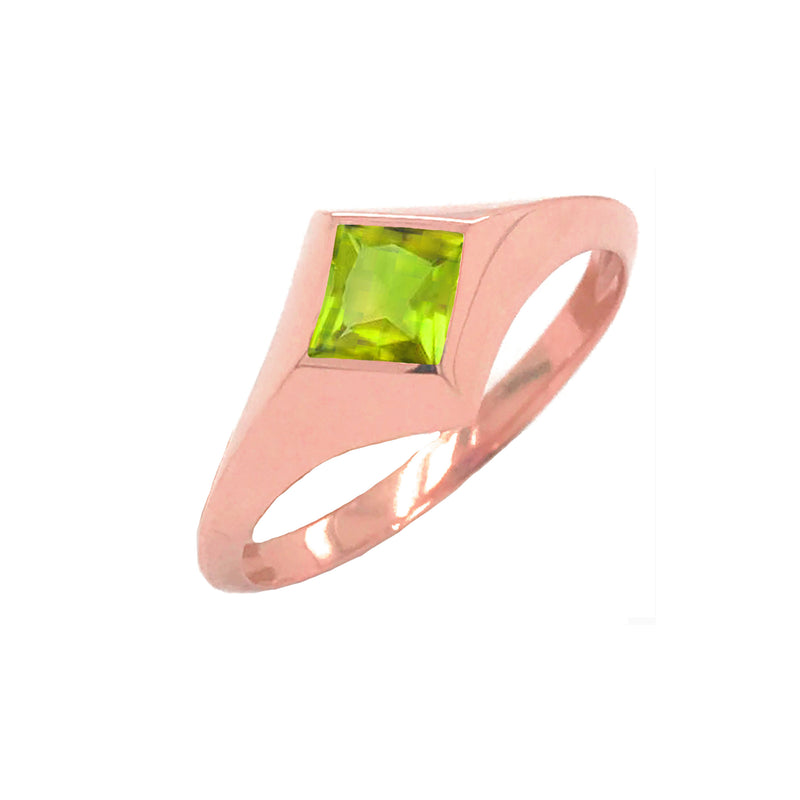 Solitaire Princess-Cut Peridot Ring in Rose Gold