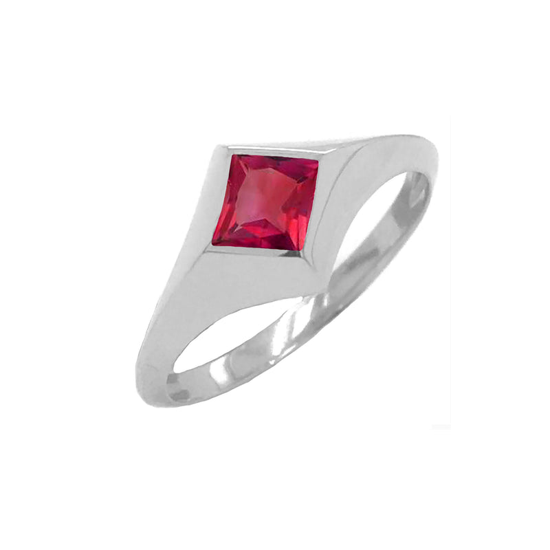 Solitaire Princess-Cut Garnet Ring in Sterling Silver