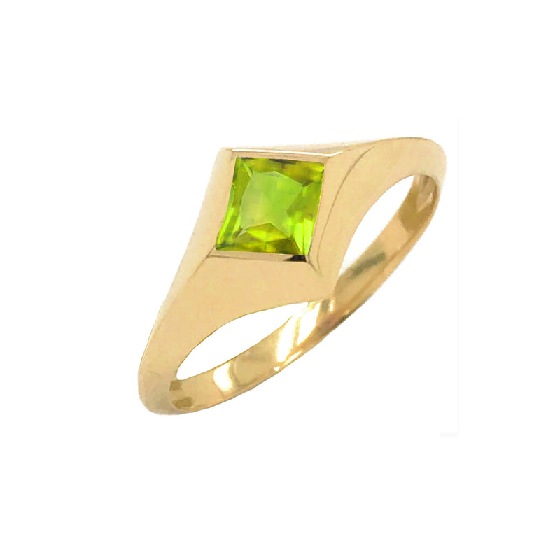 Solitaire Princess-Cut Peridot Ring in Yellow Gold