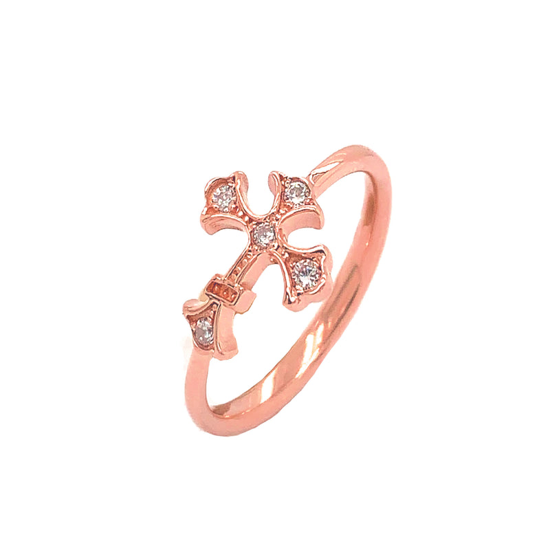 Eastern Orthodox CZ Cross Statement Ring in Solid Rose Gold