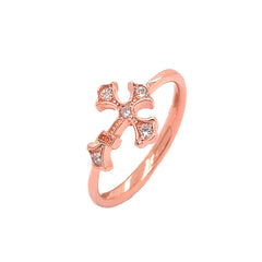 Eastern Orthodox Diamond Cross Statement Ring in Rose Gold