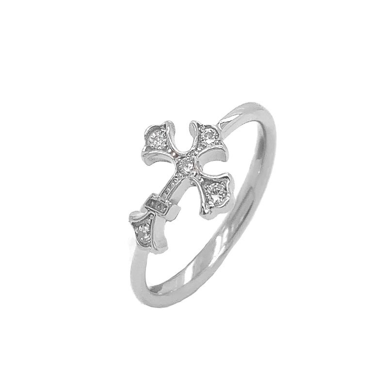 Eastern Orthodox Diamond Cross Statement Ring in White Gold