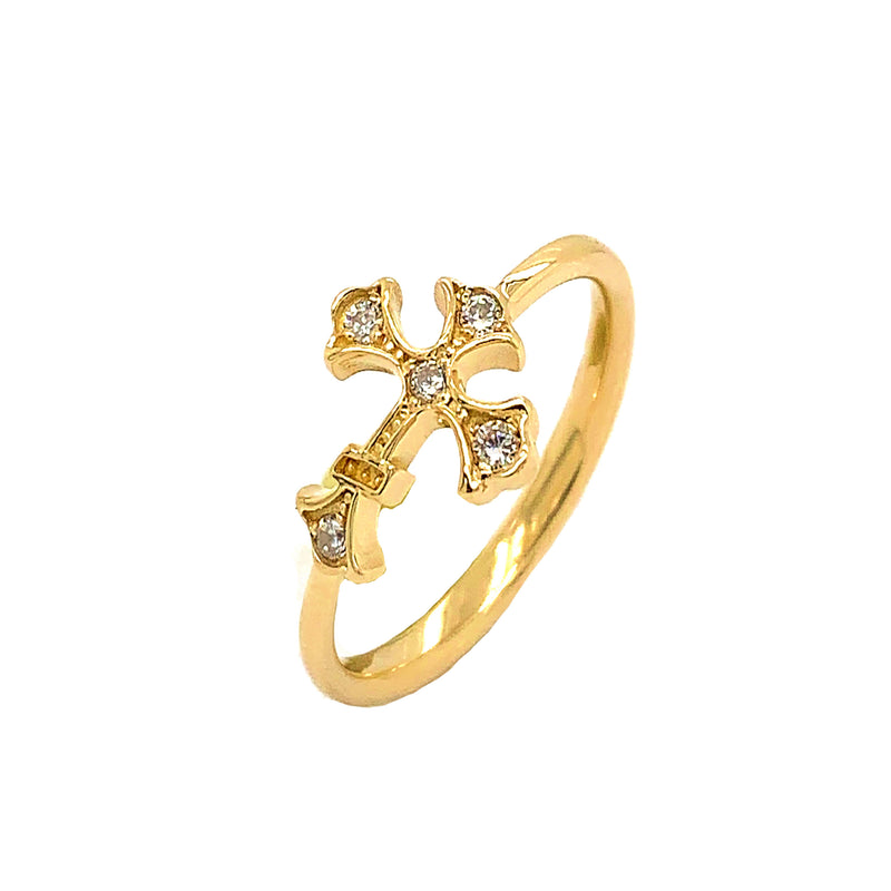 Eastern Orthodox Cross Diamond Ring in Solid Yellow Gold