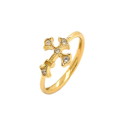 Eastern Orthodox CZ Cross Statement Ring in Solid Yellow Gold