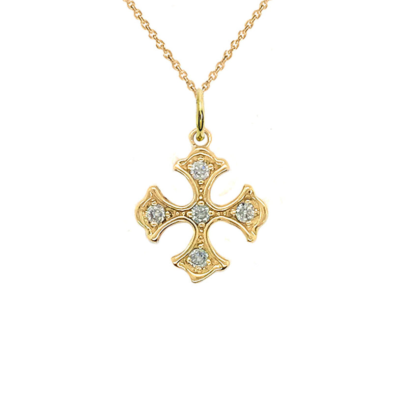 Heraldic Cross Diamond Charm Pendant Necklace in Gold