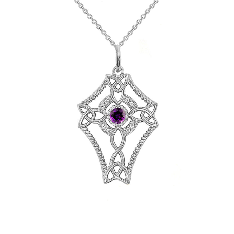 Diamond Celtic Trinity Knot Cross with Genuine Amethyst Pendant Necklace in Gold