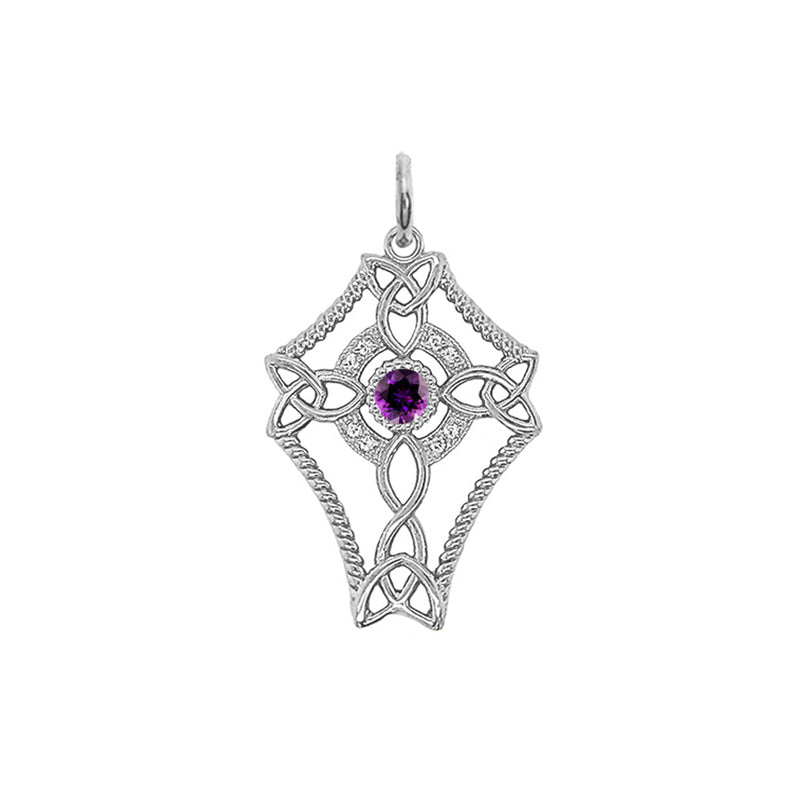 Diamond Celtic Trinity Knot Cross with Genuine Amethyst Pendant Necklace in Sterling Silver