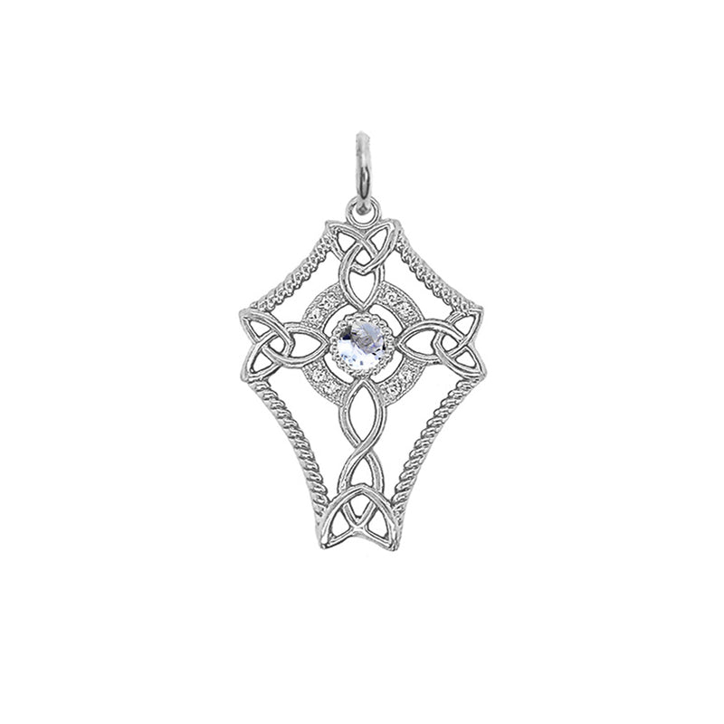 Diamond Celtic Trinity Knot Cross with Genuine Aquamarine Pendant Necklace in Sterling Silver