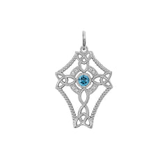 Diamond Celtic Trinity Knot Cross with Genuine Blue Topaz Pendant Necklace in Gold