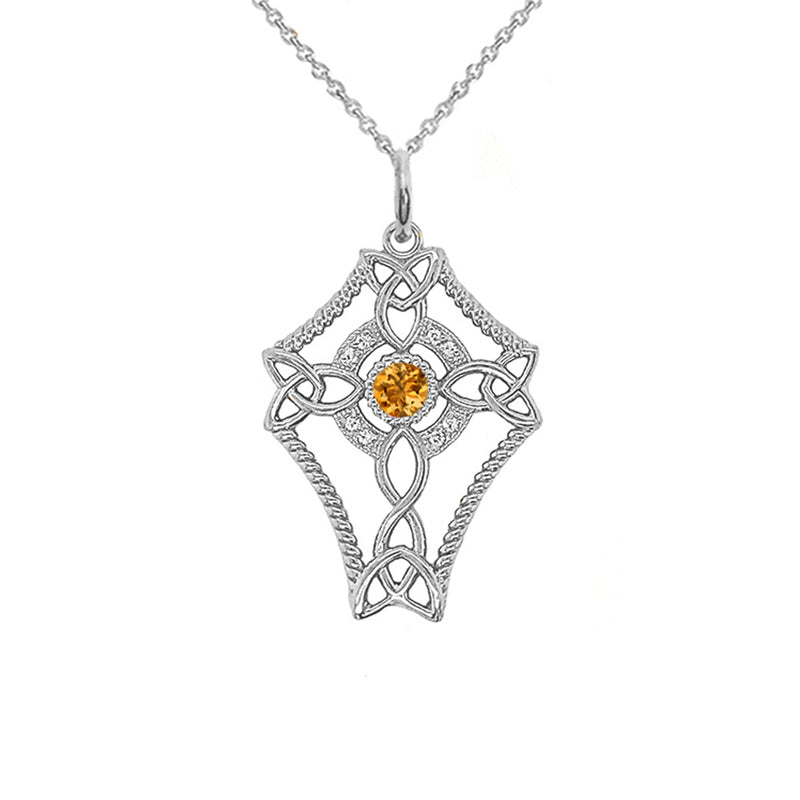 Diamond Celtic Trinity Knot Cross with Genuine Citrine Pendant Necklace in Gold