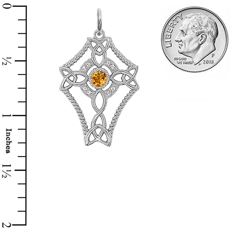 Diamond Celtic Trinity Knot Cross with Genuine Citrine Pendant Necklace in Sterling Silver