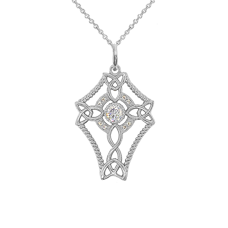 Diamond Celtic Trinity Knot Cross with Genuine White Topaz Pendant Necklace in Sterling Silver
