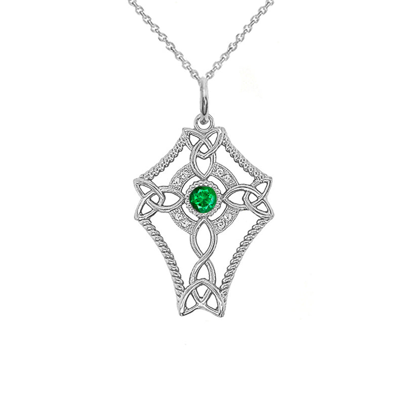 Diamond Celtic Trinity Knot Cross with May Birthstone Pendant Necklace in Sterling Silver