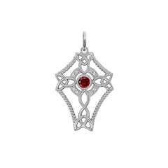 Diamond Celtic Trinity Knot Cross with Genuine Garnet Pendant Necklace in Sterling Silver