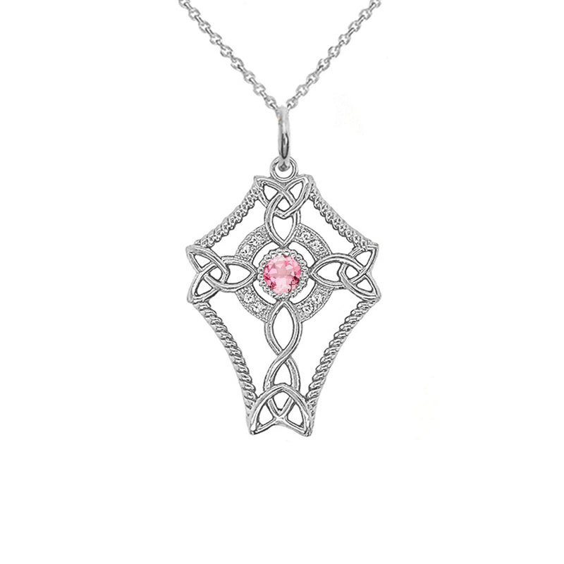 Diamond Celtic Trinity Knot Cross with October Birthstone Pendant Necklace in Sterling Silver
