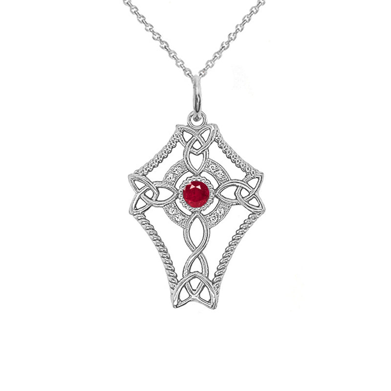 Diamond Celtic Trinity Knot Cross with July Birthstone Pendant Necklace in Sterling Silver