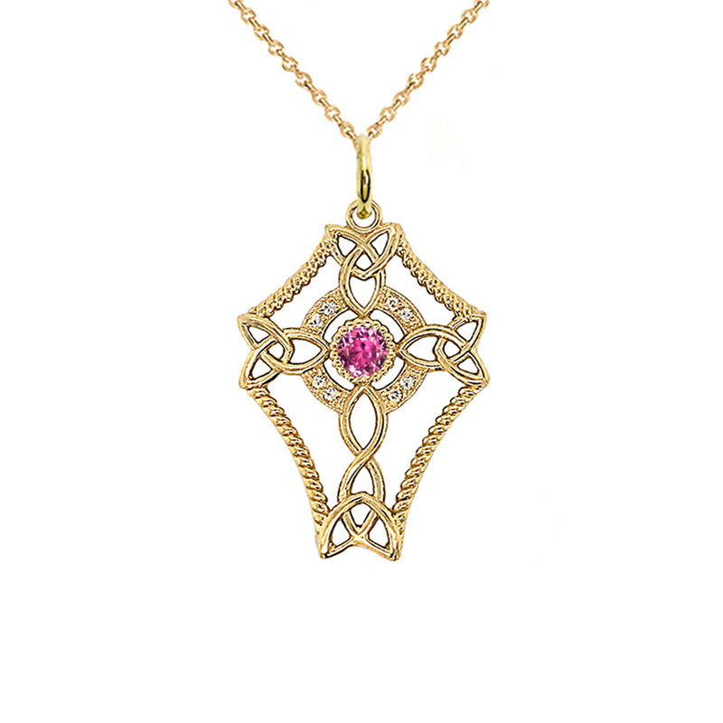 Diamond Celtic Trinity Knot Cross with June Birthstone Pendant Necklace in Gold