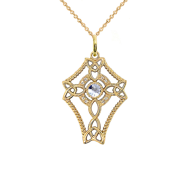 Diamond Celtic Trinity Knot Cross with Genuine Aquamarine Pendant Necklace in Gold