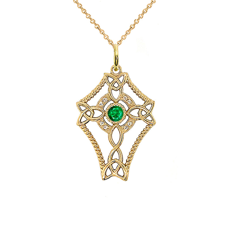 Diamond Celtic Trinity Knot Cross with May Birthstone Pendant Necklace in Gold