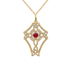 Diamond Celtic Trinity Knot Cross with July Birthstone Pendant Necklace in Gold