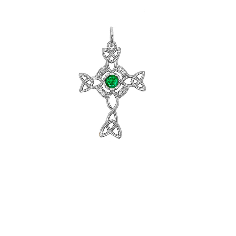 Diamond Irish Celtic Cross with May Birthstone Pendant Necklace in Sterling Silver