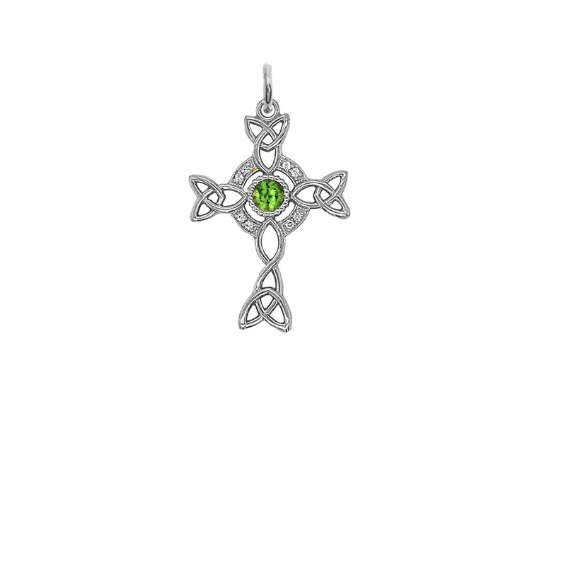 Diamond Irish Celtic Cross with Genuine Peridot Pendant Necklace in Sterling Silver