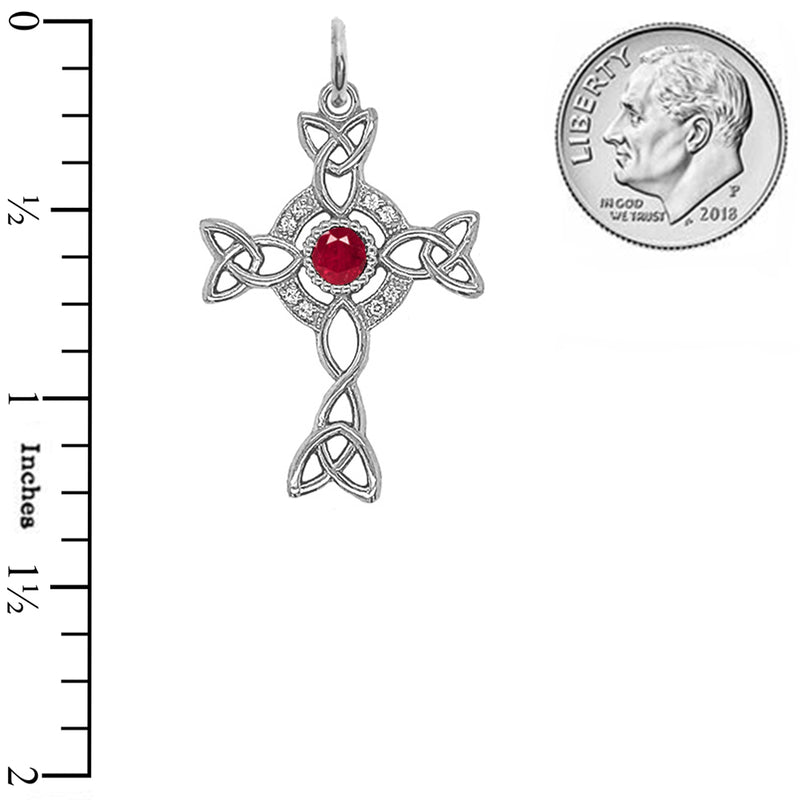 Diamond Irish Celtic Cross with July Birthstone Pendant Necklace in Sterling Silver