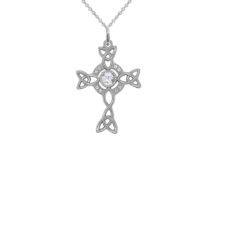 Diamond Irish Celtic Cross with Genuine White Topaz Pendant Necklace in Sterling Silver